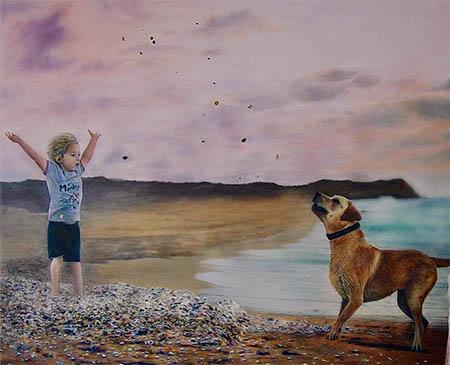 ילד עם כלב