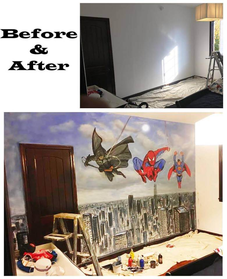ציור קיר לחדר ילדים - לפני ואחרי : ציור על קיר, צייר קירות סמואל חגאי ציורי קיר בהתאמה אישית מעוניינים בציור קיר? באו לראות עוד ציורי קיר - היכנסו לגלריה