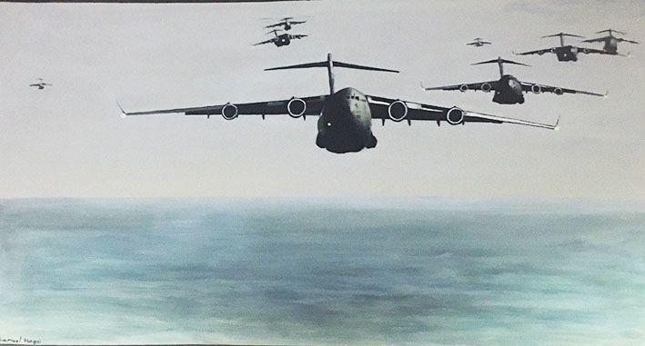 ציור קיר מטוסים