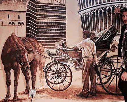 ציור קיר סוס וכרכרה