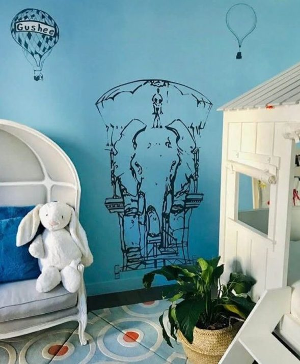ציור קיר בחדר ילדים - פיל מעוצב
