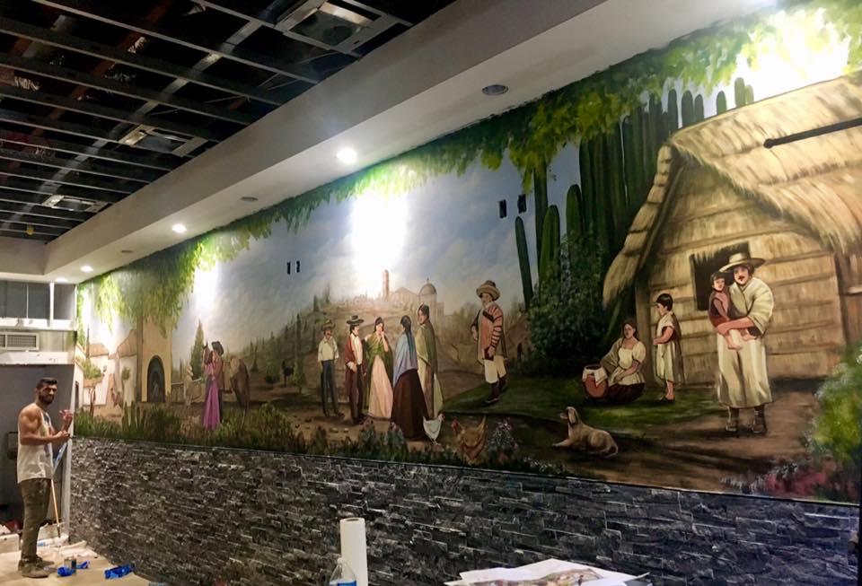 ציור על קיר במסעדה מקסיקנית
