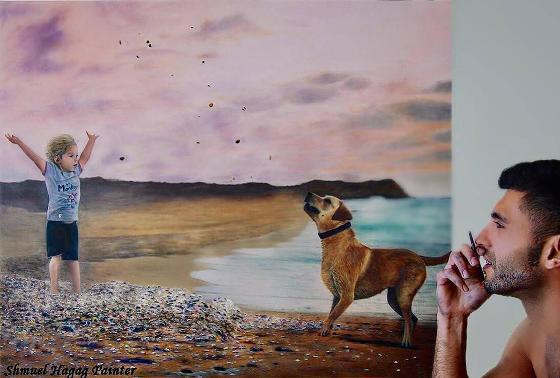 ציור קיר לחדר ילדים - ילד עם כלב