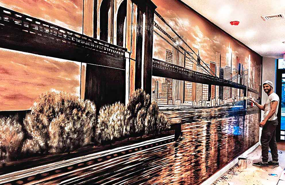 ציור בבניין משרדים של גשר ברוקלין