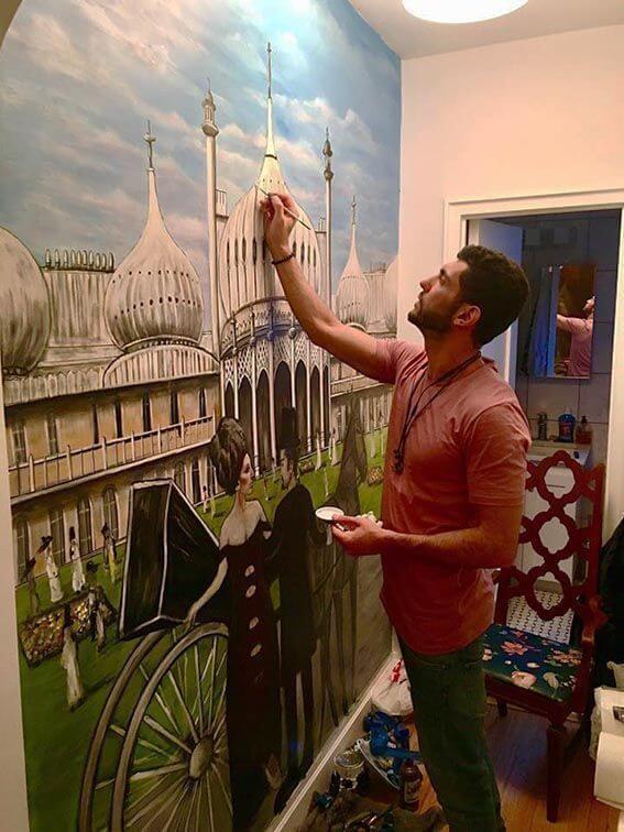 ציור קיר לחדר שינה בבית פרטי
