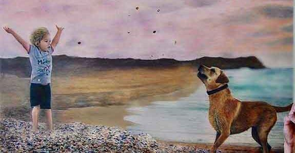 ציור קיר של ילד עם כלב