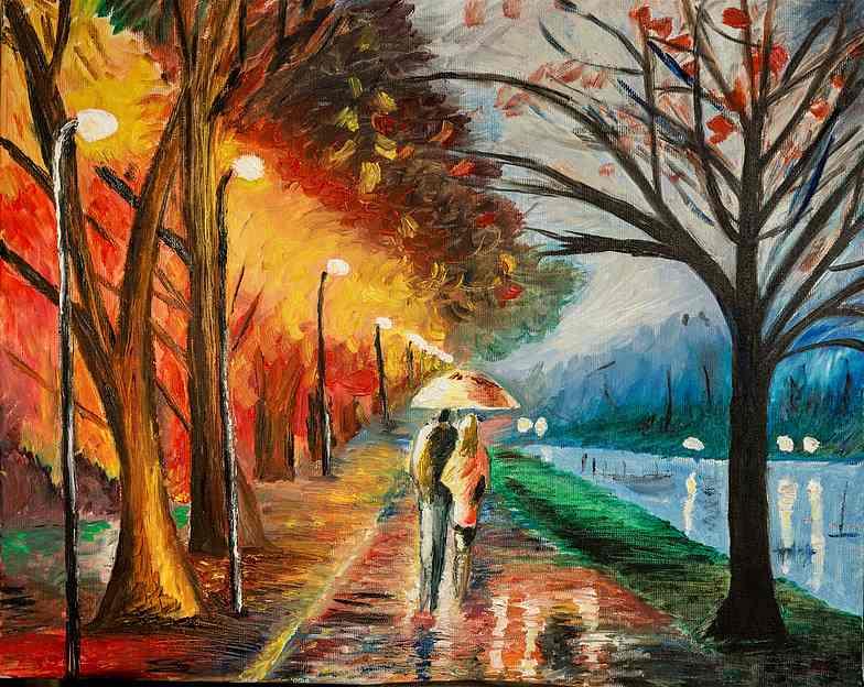 ציור צבעוני של זוג הולכים עם מטריה