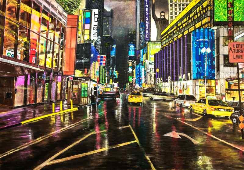 מנהטן ניו יורק על בד קנבס בצבעי שמן