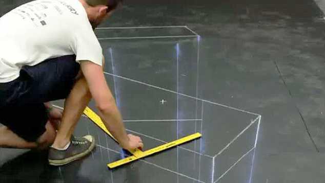 הכנות לציור תלת מימד על רצפה