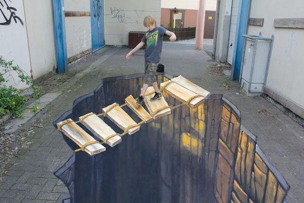 ציור של ילד הולך על לוחות עץ