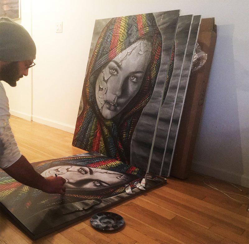 מעבר בצבעי שמן על העתקים של ציורים שמן