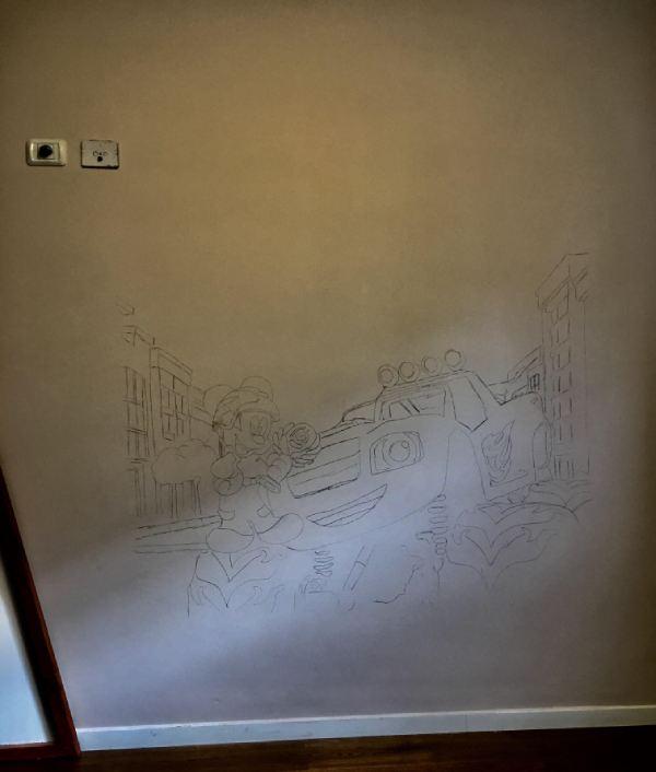 שרטוט סקיצה על קיר