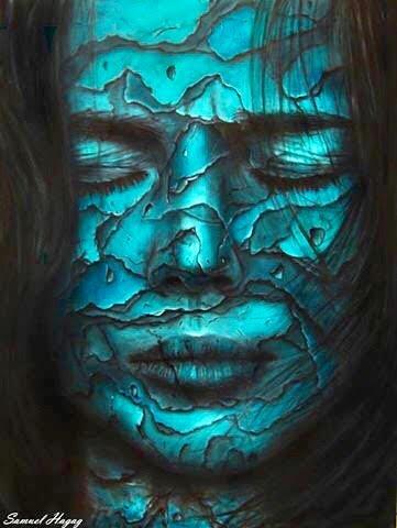 ציור שמן של אישה מתקלפת בטורקיז