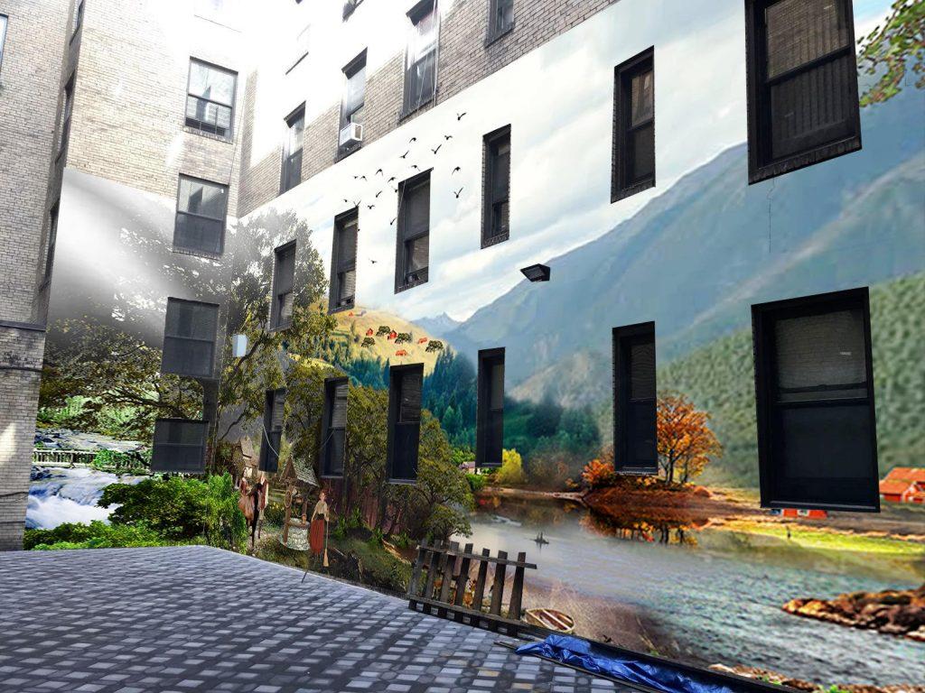 אילוסטרציה של ציור על בניין