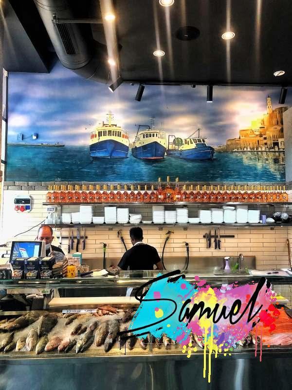 ציור בחנות דגים